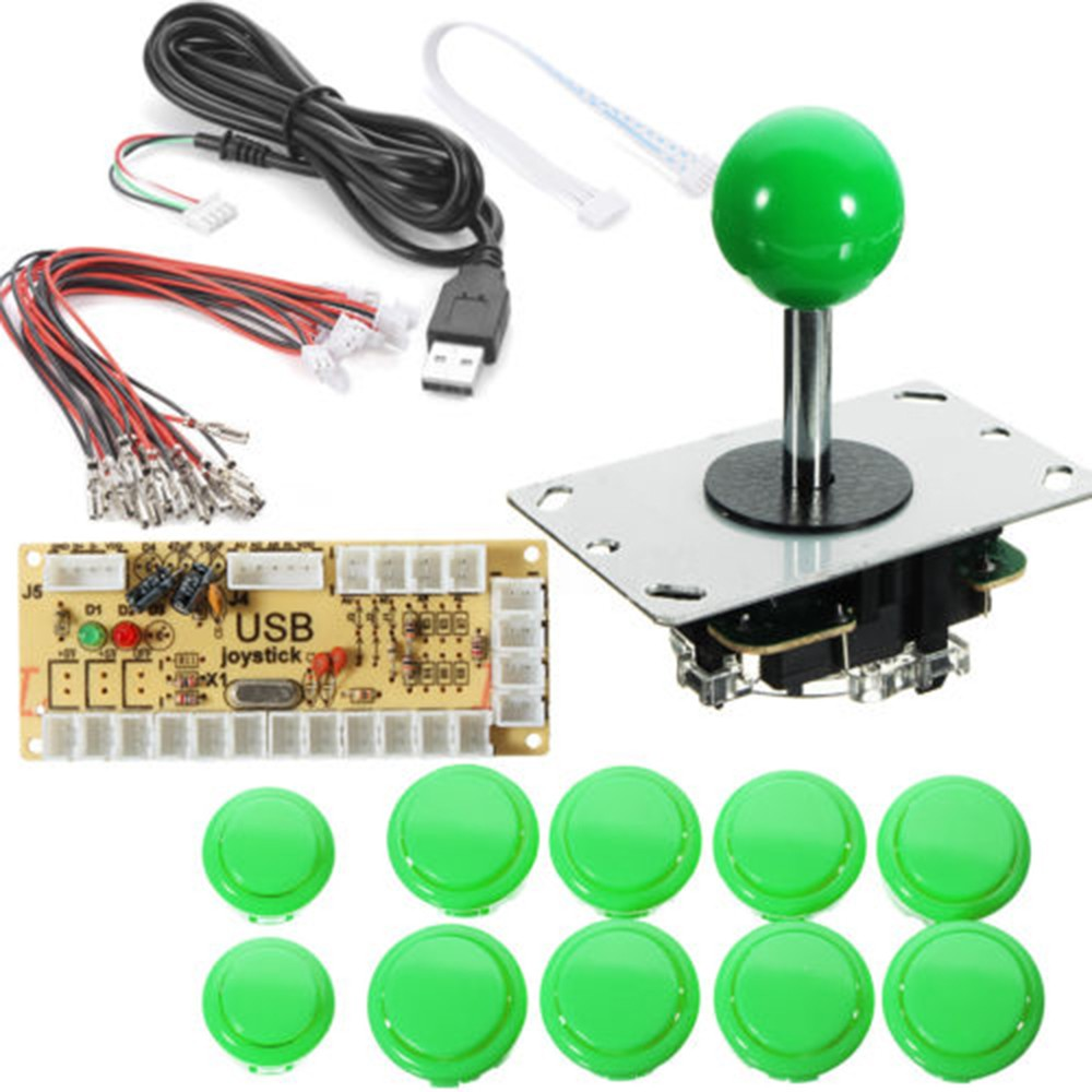 Diy Arcade Joystick Zero Delay Kit Usb Pc Controller For Logic Computer Wire Harness Buttons Mame Raspberry Pi Sale Us2099 Green Tomtop