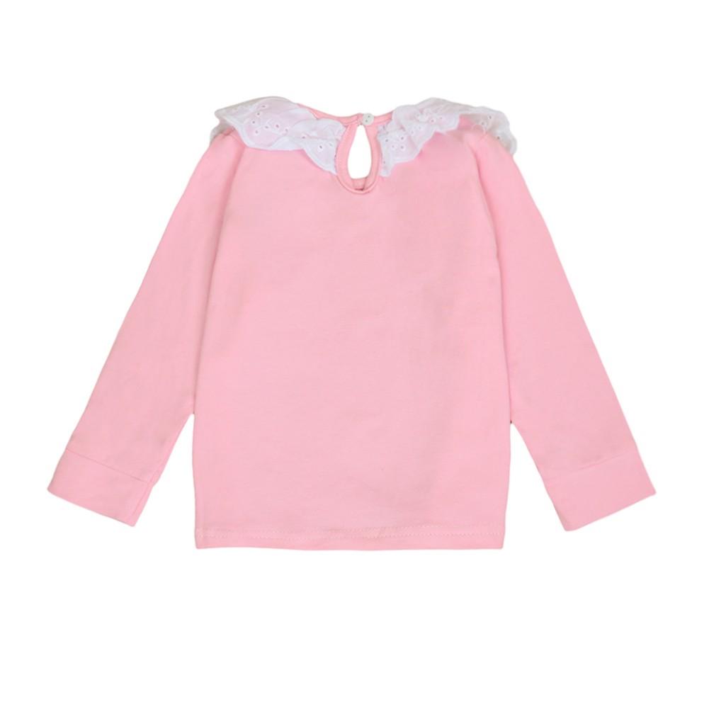 Sweet cute kids baby girl cotton t shirt peter pan collar for White cotton shirt peter pan collar