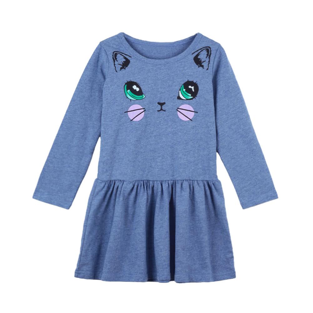 ab249e958dd5 Cute Kids Cotton Cartoon Cat Print Dropped Waist Round Neck Long ...