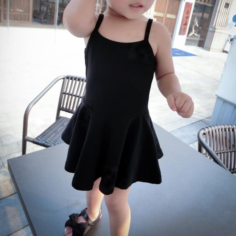 Summer Cute Baby Girls Mini Dress Solid Color Spaghetti Strap Square