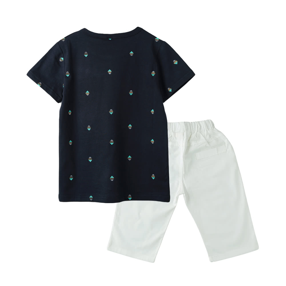 New Fashion Boys Two Piece Set T Shirt Mid Length Shorts Contrast Casual Pattern Print Black Elastic Waist Pockets Clothing Sets Dark Blue 9 Online Shopping
