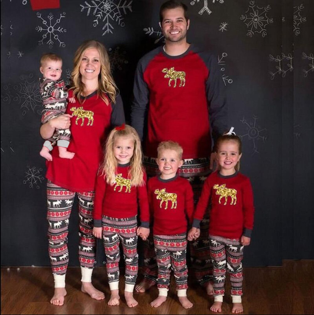 2b47067e08 Infant Baby Bodysuit Rompers Jumpsuit Christmas Family Look Pajamas  Reindeer Family Matching Outfit Father Mother Kids Baby Sleepwear Red