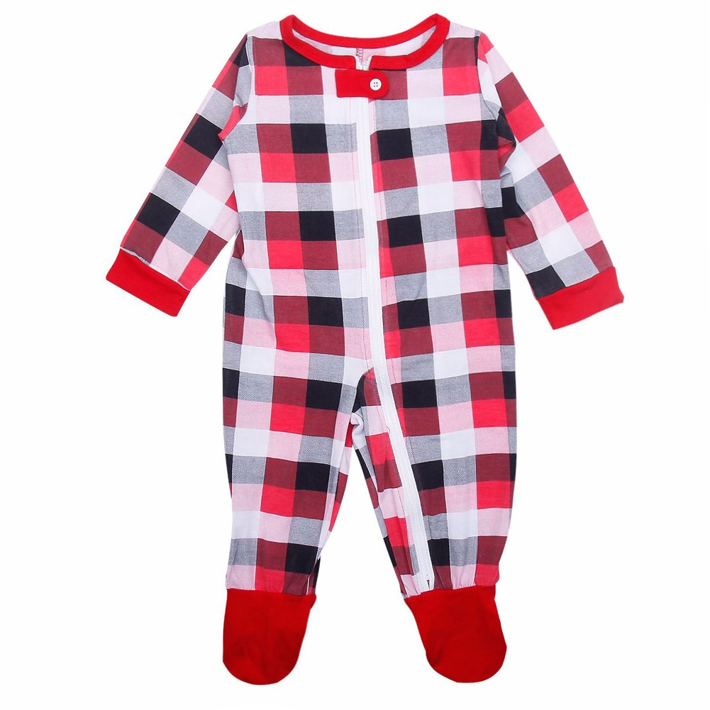 ee5cd4ad3 Christmas Family Baby Jumpsuit Plaid Printed Long Sleeve Unisex ...