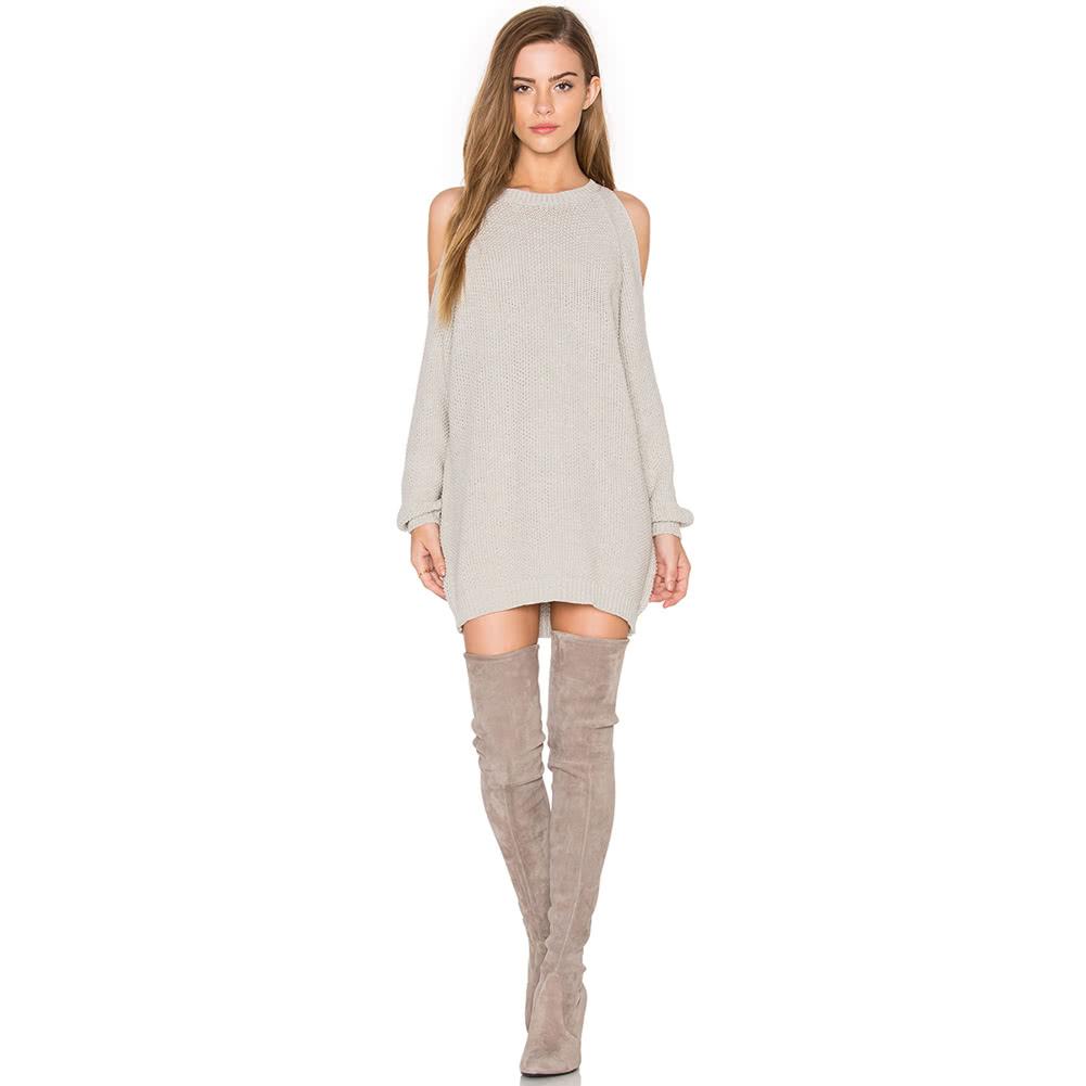 Cheap Array Women Knit Sweater Dress Off Shoulder O-Neck Long ...