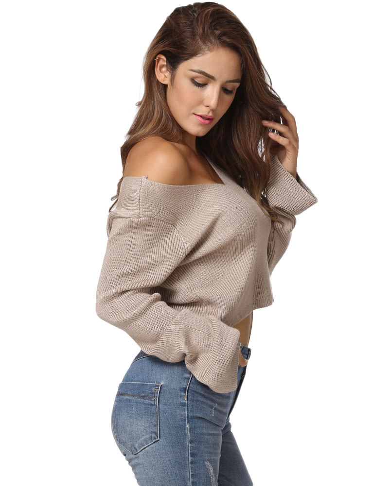 Fashion Women Knitted Sweater Sexy Off Shoulder Cropped Top V Neck