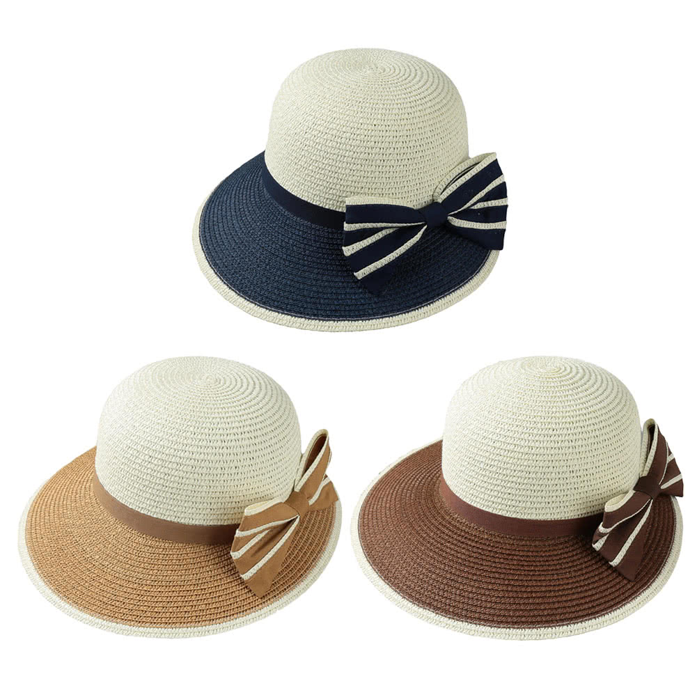 New Fashion Women Bow Straw Hat Contrast Color Wide Brim Summer Beach Sun Cap Floppy Trilby Hat Khaki/Coffee/Dark Blue camel Online Shopping | Tomtop