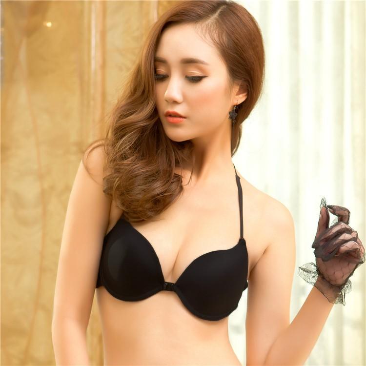 2b8664fc0c5c9 Sexy Women Bra 3 4 Cup Padded Push Up Y-Line Straps Halter Front Closure  Underwire Bralette Underwear Lingerie g1496b38b Online Shopping