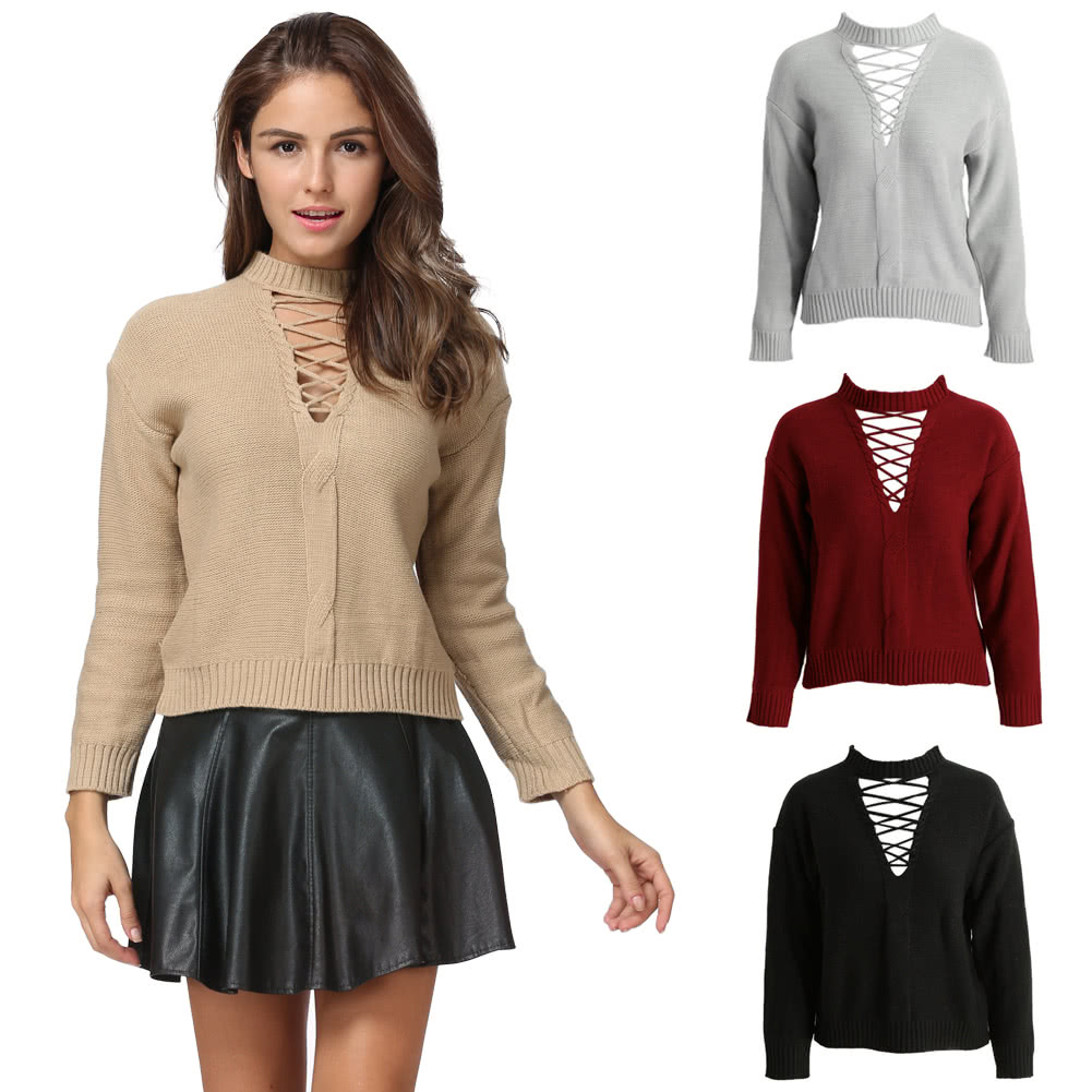 Pull Over Onto Shoulder : Women knitted hollow out pull over sweater lace up dropped