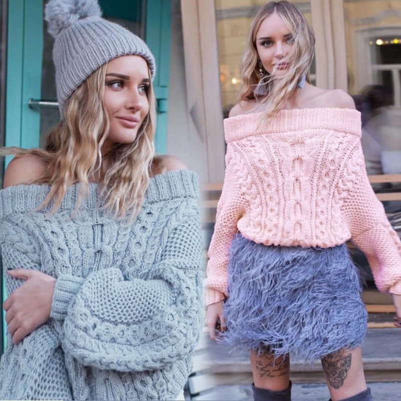 7e8ff6a931 Fashion Women Off Shoulder Puff Sleeve Chunky Knit Sweater Slash Neck  Casual Loose Knitwear Pullover Light Blue Pink