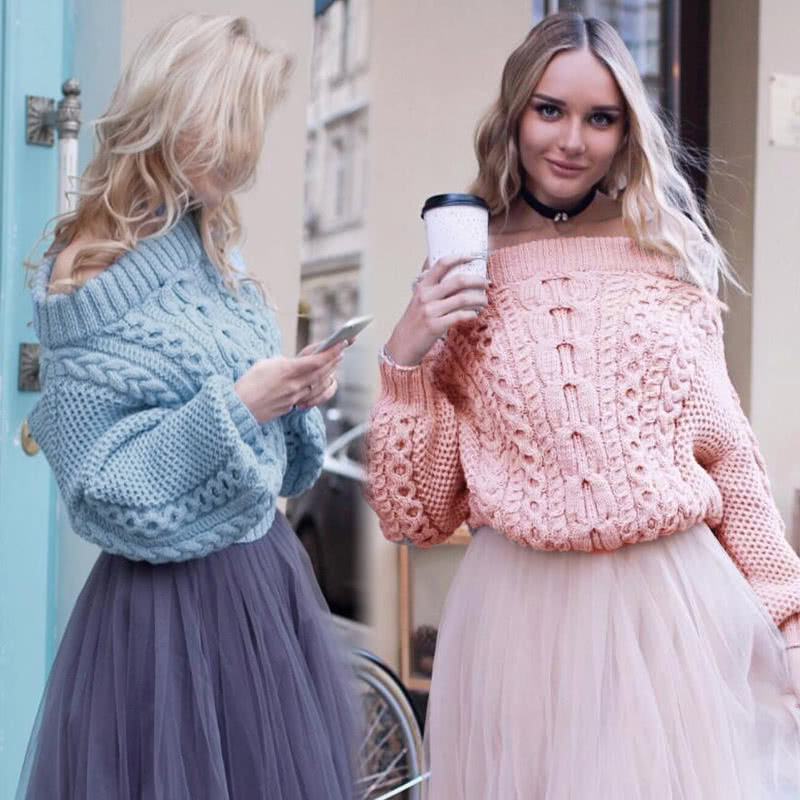 89a5810e93 Fashion Women Off Shoulder Puff Sleeve Chunky Knit Sweater Slash Neck  Casual Loose Knitwear Pullover Light Blue Pink light blue Online Shopping