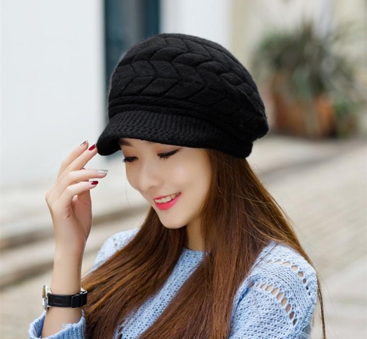 Las mujeres de moda de punto boina Crochet Slouch Baggy Beanie ...