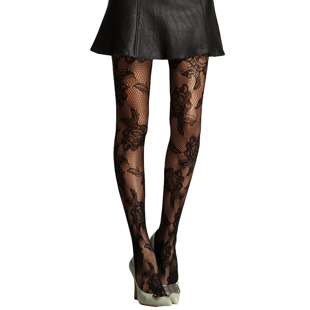 b92a874e7 Nuevo Sexy mujer medias medias rejilla Floral sin fisuras de cintura alta  pantimedias medias negro
