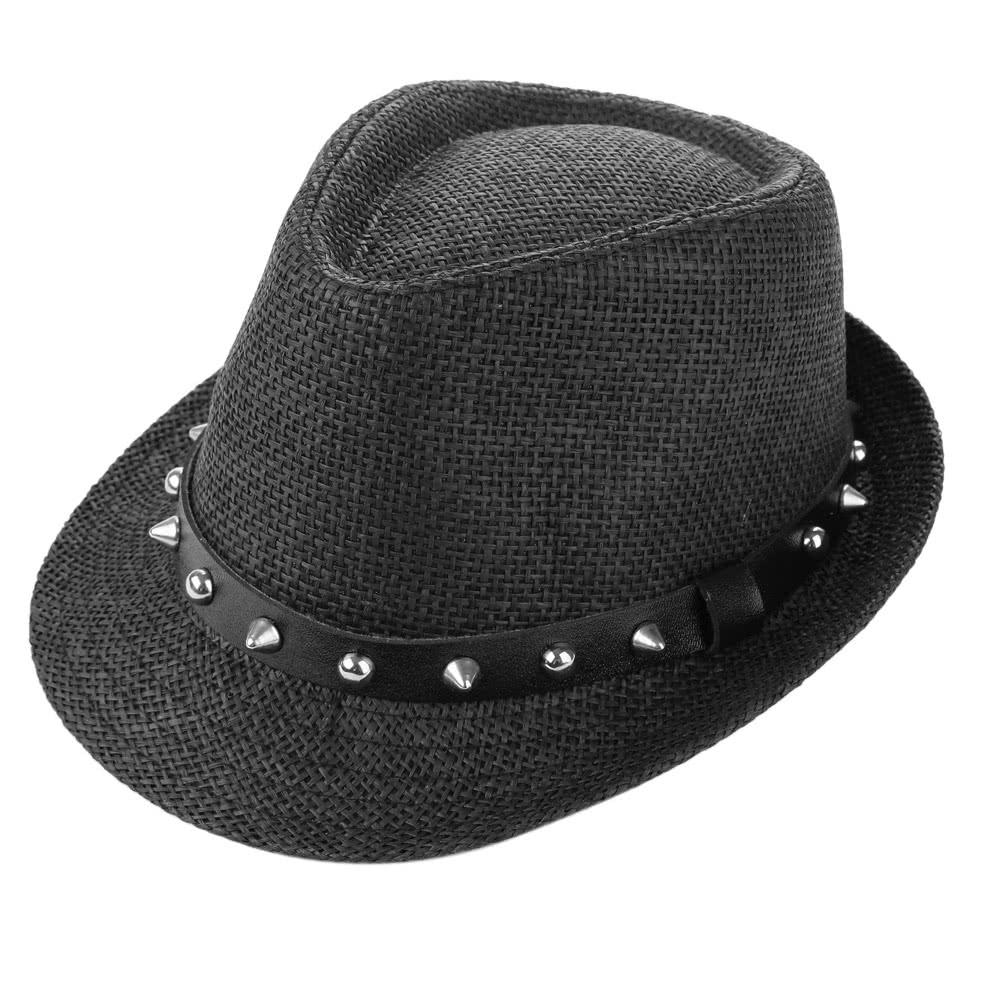 b9e98b3e07557 Fashion Summer Sun Straw Men Women Panama Hat Beach Cap Rivet Belt Fedora  Trilby Hat black Online Shopping