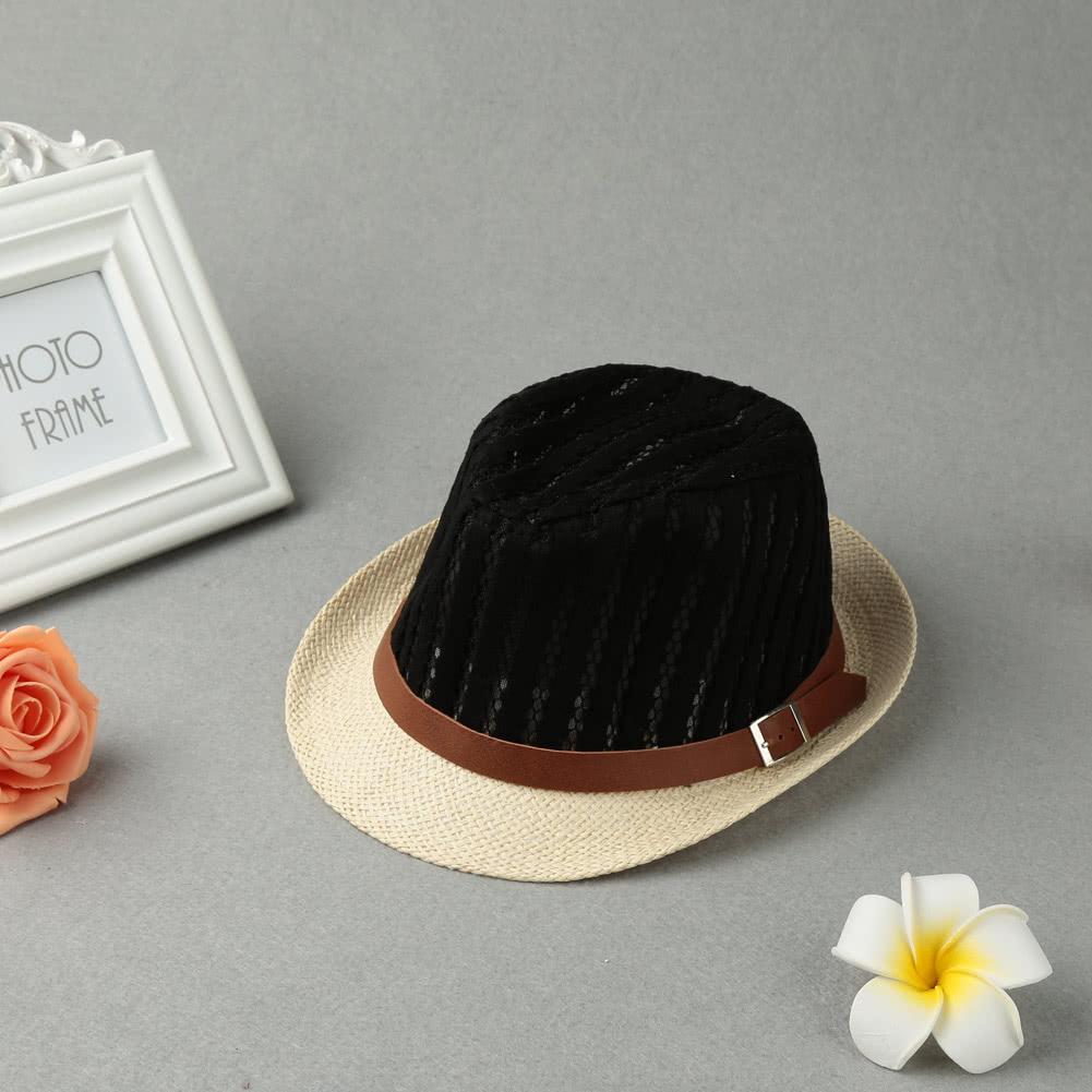 84645661313 Fashion Boy Girl Straw Hat Hollow Sheer Mesh Contrast Belt Fedora Curly  Brim Baby Kids Unise Panama Jazz Trilby Hat Cap black Online Shopping