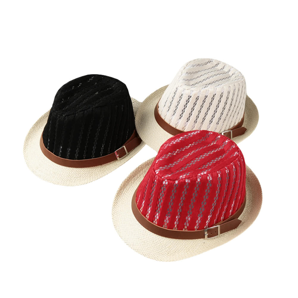 0cc0d72615e Fashion Boy Girl Straw Hat Hollow Sheer Mesh Contrast Belt Fedora Curly  Brim Baby Kids Unise Panama Jazz Trilby Hat Cap
