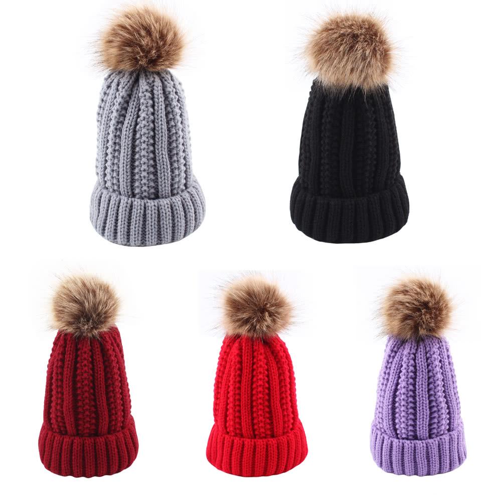 Sombrero de invierno para mujer Gorro de punto Knight Skullies Pom ...