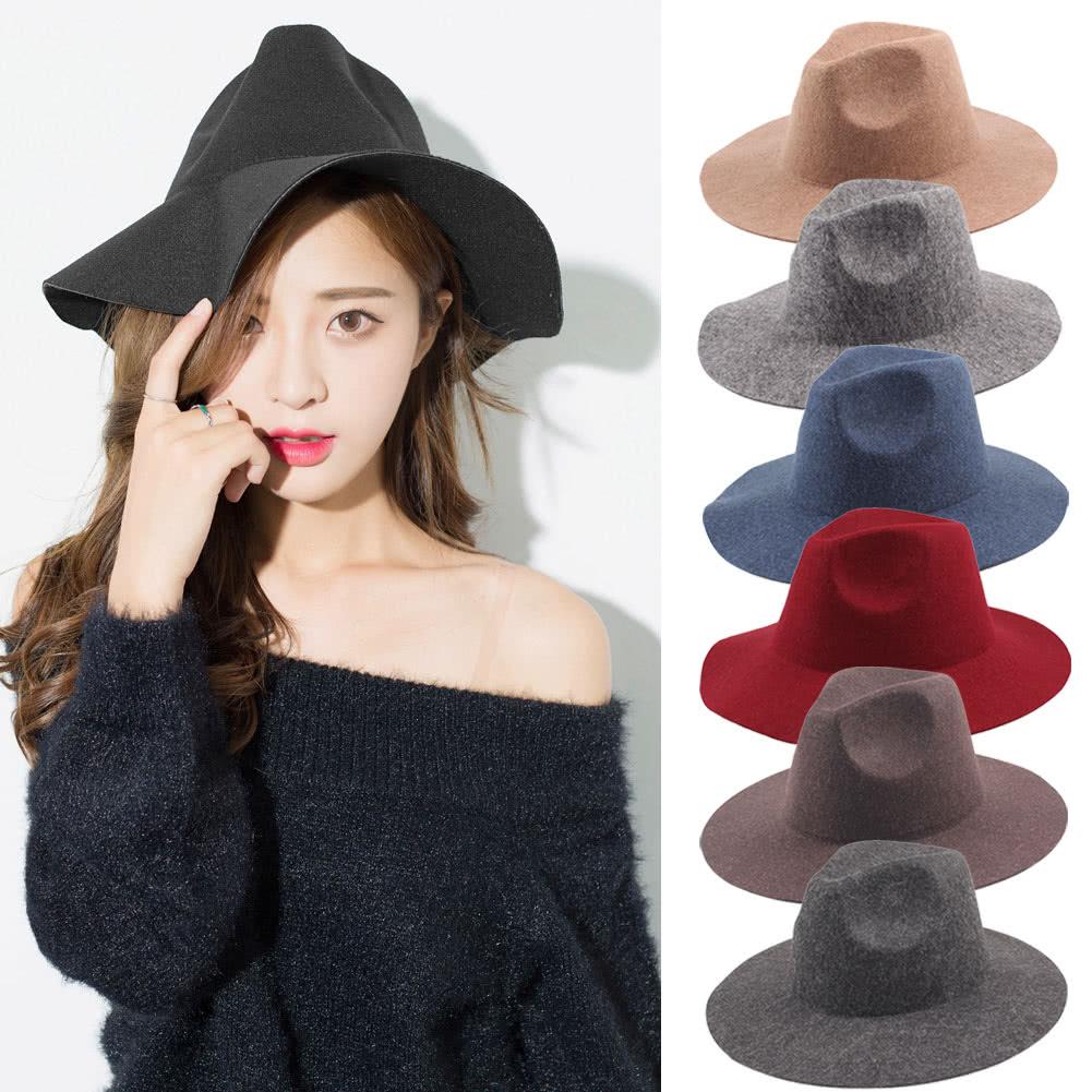 c56684237e0 Vintage Unisex Women Men Wool Felt Hat Wide Brim Foldable Sun Beach Cap  Sombreros Fedora Trilby Hat