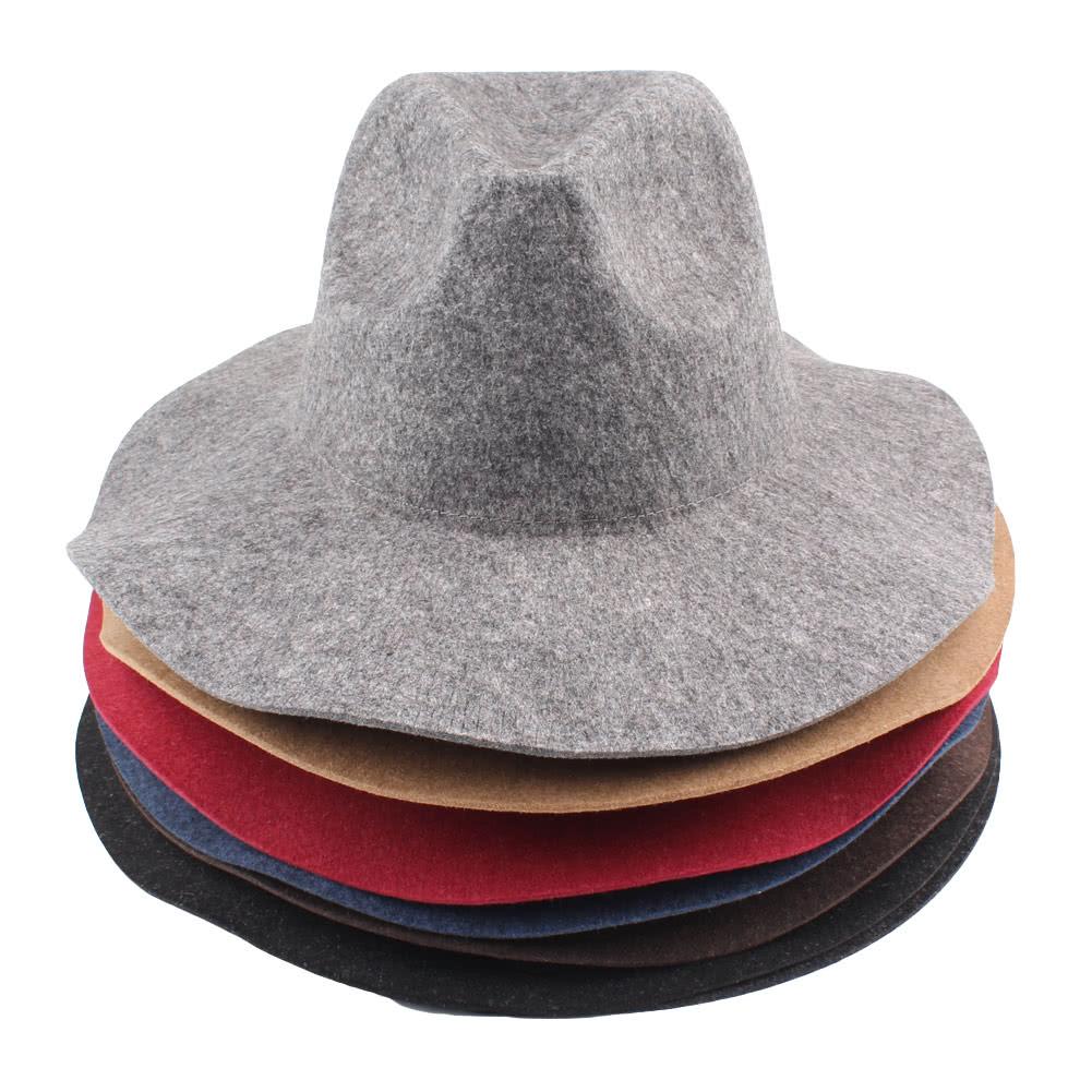87d7f84878068 Vintage Unisex Women Men Wool Felt Hat Wide Brim Foldable Sun Beach Cap  Sombreros Fedora Trilby Hat black Online Shopping