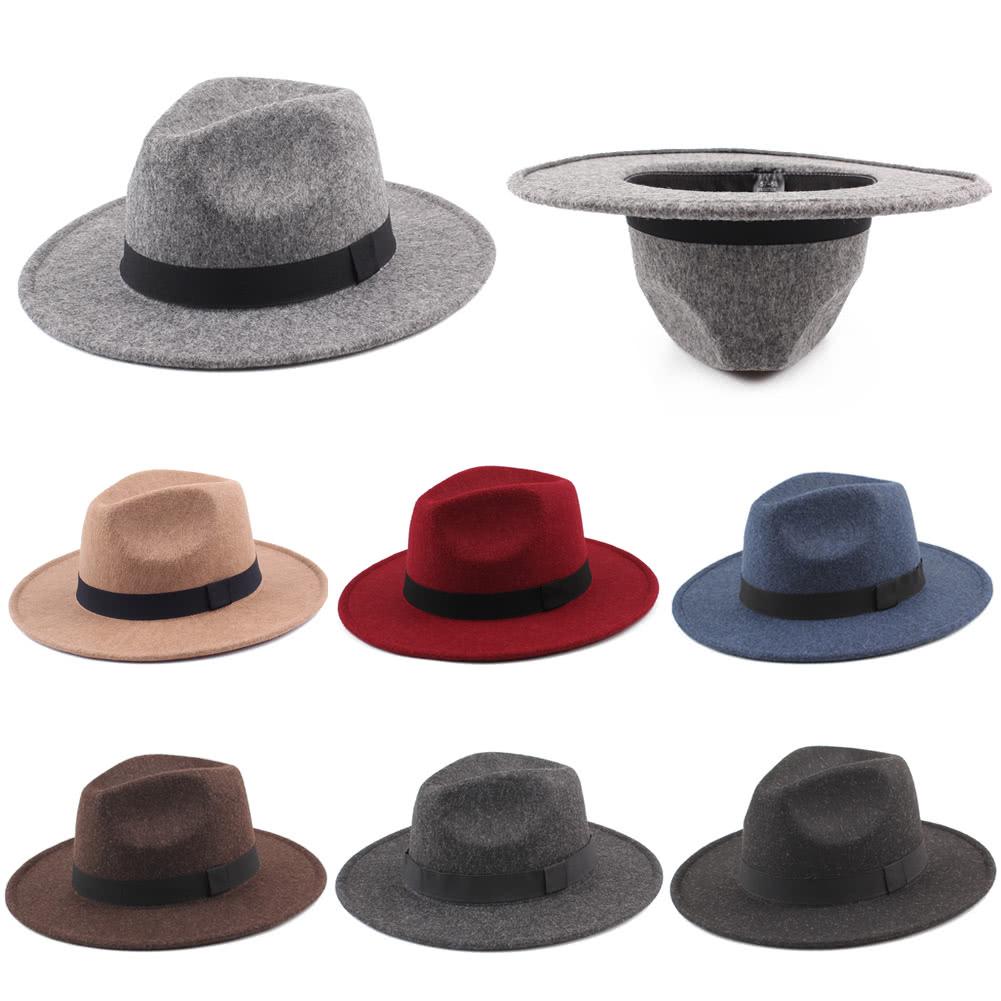 Women Men Unisex Felt Trilby Hats Wide Brim Adjustable Fedora Jazz Hat Caps  black Online Shopping  6da23da3f4f3