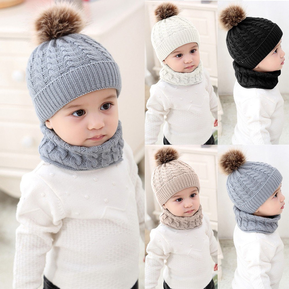 2pcs Toddler Kids Hats Baby Circle Loop Scarf Neck Warmer