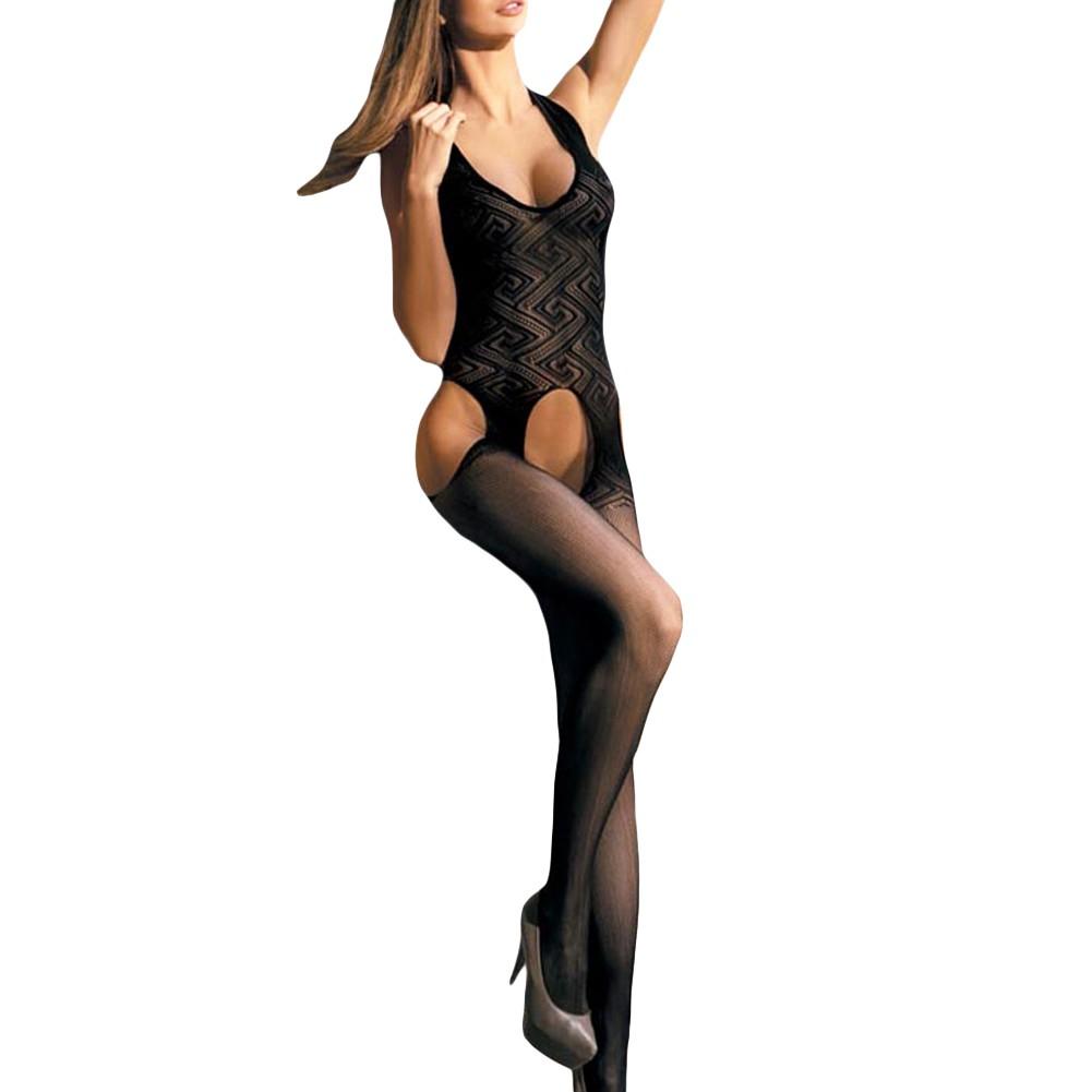 9b8864fcb Sexy Women Sheer Lingerie Bodysuit Mesh Crotchless Body Stocking Halter Cut  Out Babydoll Tights Underwear Nightwear Black