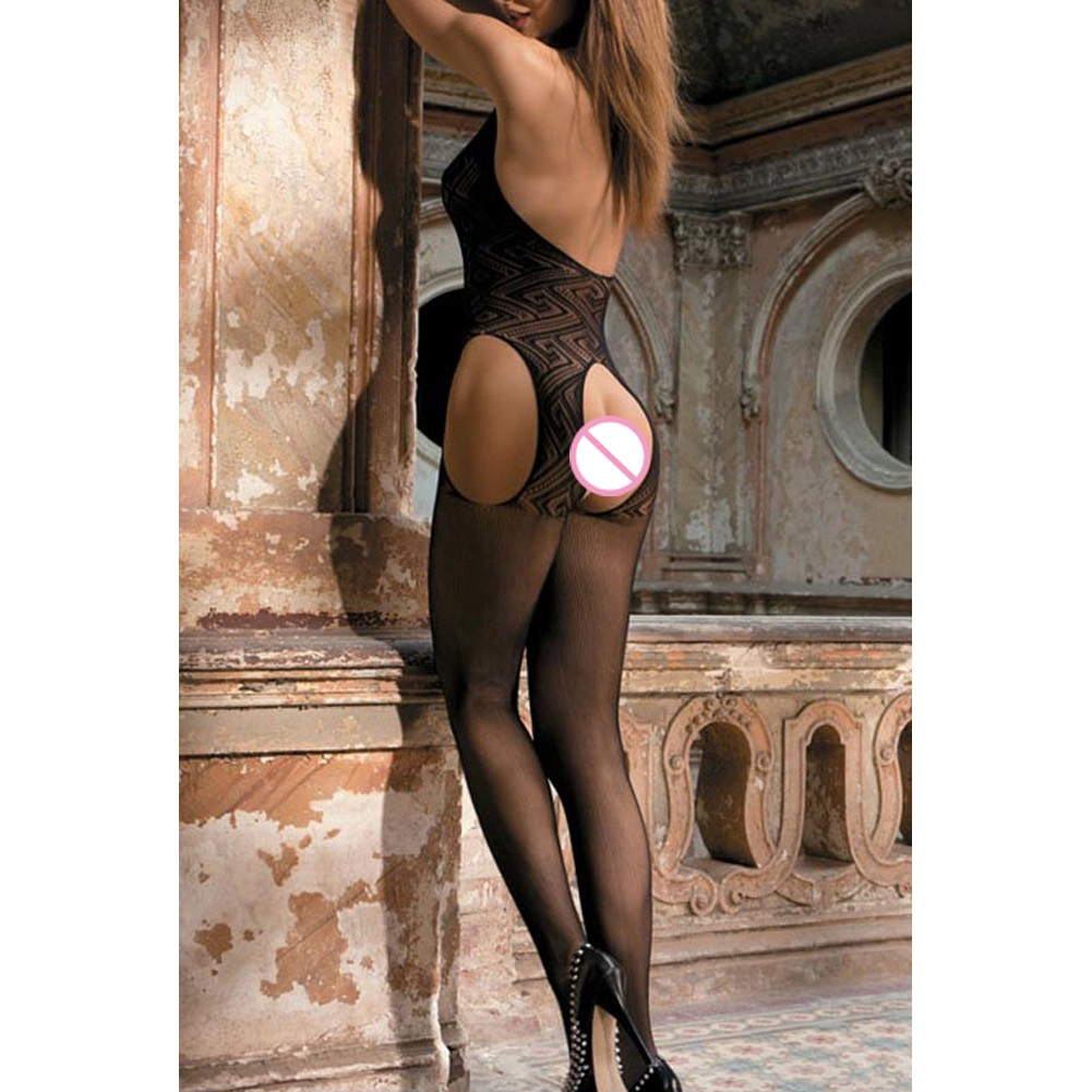c1eb9242f8e Sexy Women Sheer Lingerie Bodysuit Mesh Crotchless Body Stocking ...