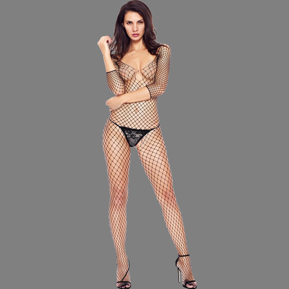 Exotic Women Net Body Stocking Off Shoulder Backless Open Crotch Hollow Out Sexy Fishnet Intimates Black