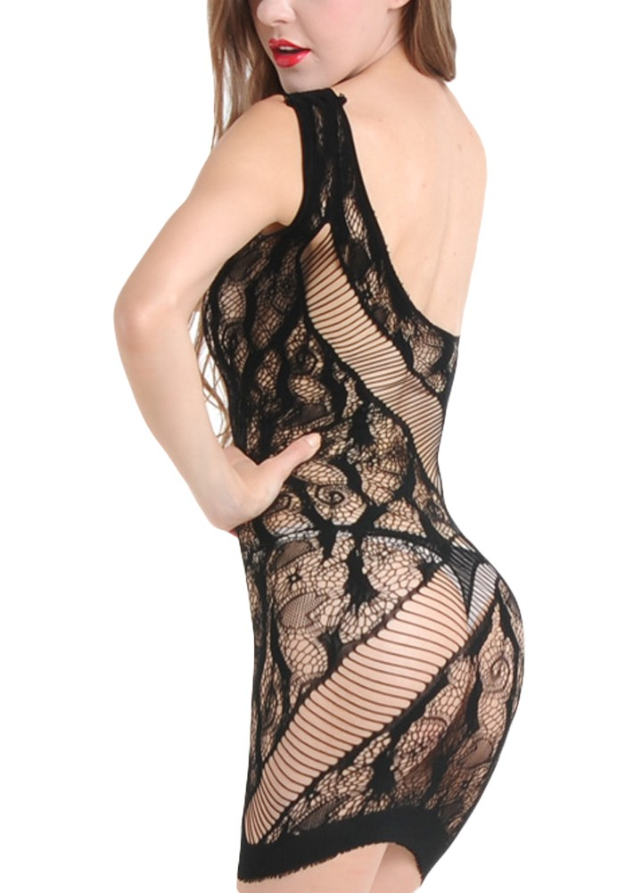 a1c8889fc9 Sexy Women Hollow Out Lingerie Sleep Dress Sheer Mesh Lace Babydoll Dress  Nightwear Sleepwear Black