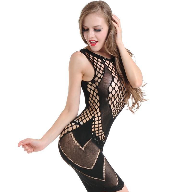 1b82611c4 New Sexy Women Lingerie Fishnet Underwear Babydoll Mini Dress Body  Stockings Sleepwear Nightwear Black black Online Shopping