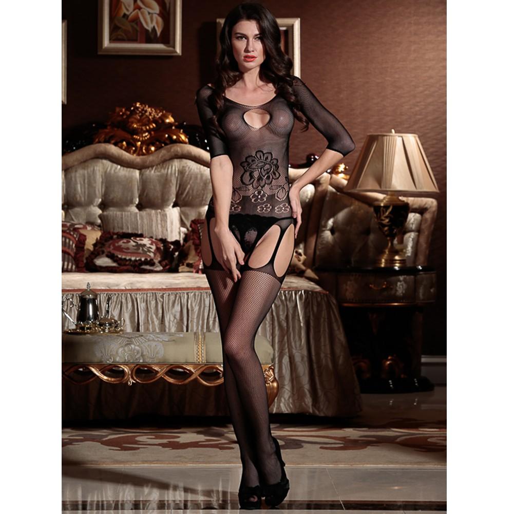 480fb934232 Sexy Women Fishnet Lingerie Bodystocking Sheer Mesh Cut Out Crotchless  Erotic Bodysuit Sleepwear Underwear Black