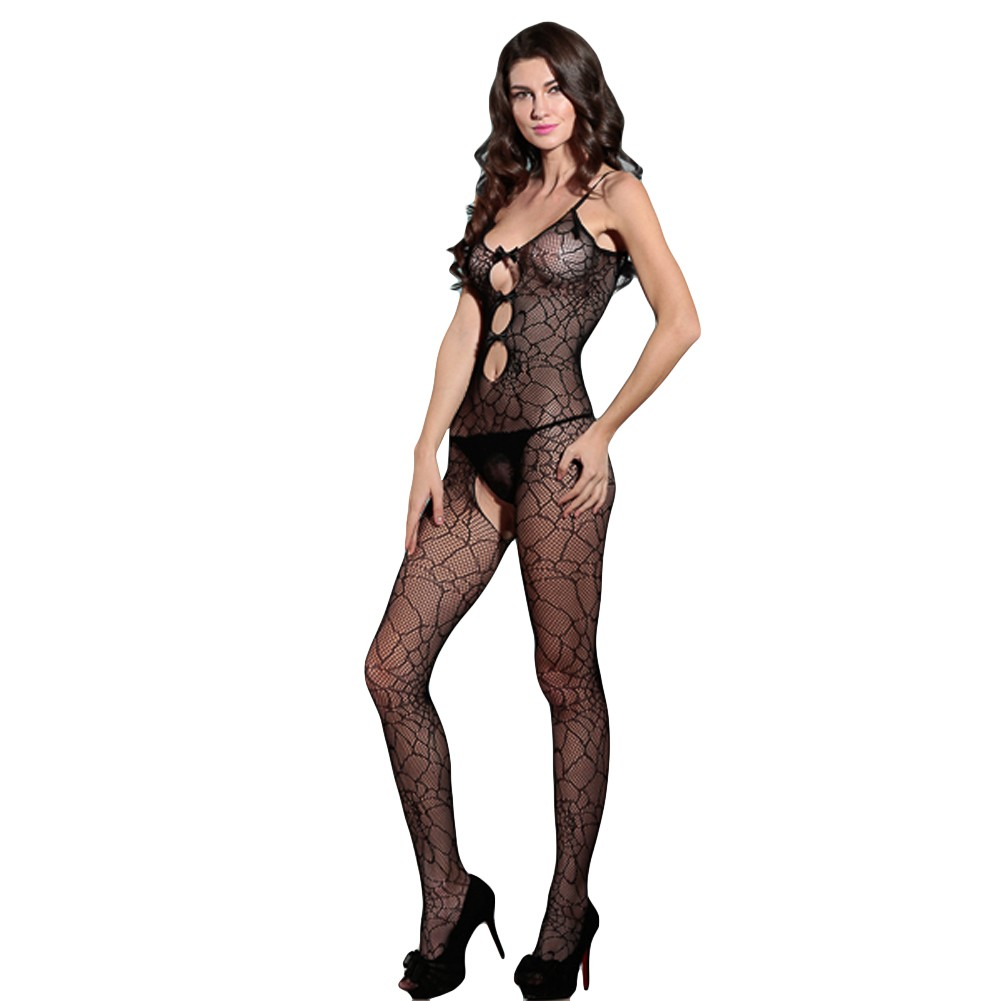 Sexy Women Bowknot Fishnet Lingerie Bodystockings Sheer Mesh Cut Out  Crotchless Erotic Bodysuit Sleepwear Underwear Black. Mouse over to zoom in d88a45abc