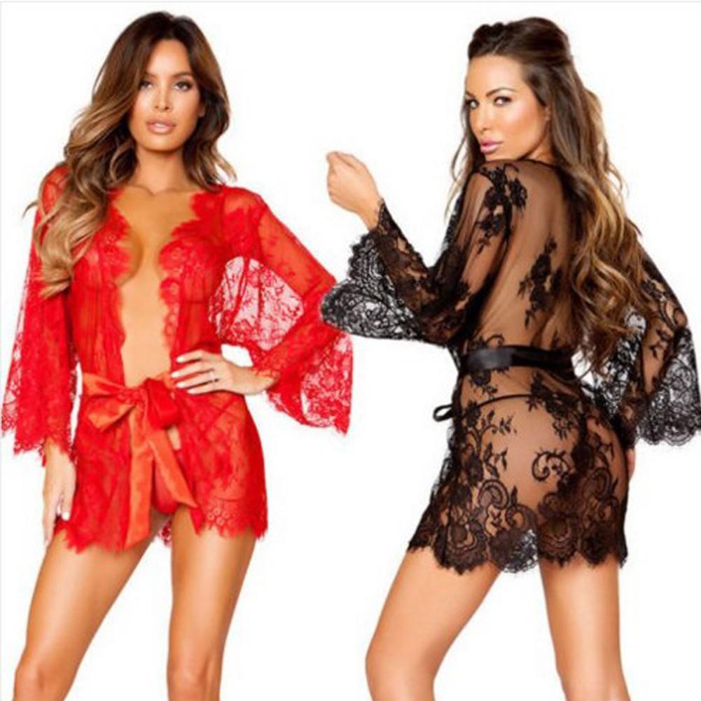 08bdd5774b8 Sexy Women Lingerie Sleep Dress Sheer Mesh Lace Trim Belt Flare Long Sleeves  Mini Dress Sleepwear G-String black Online Shopping