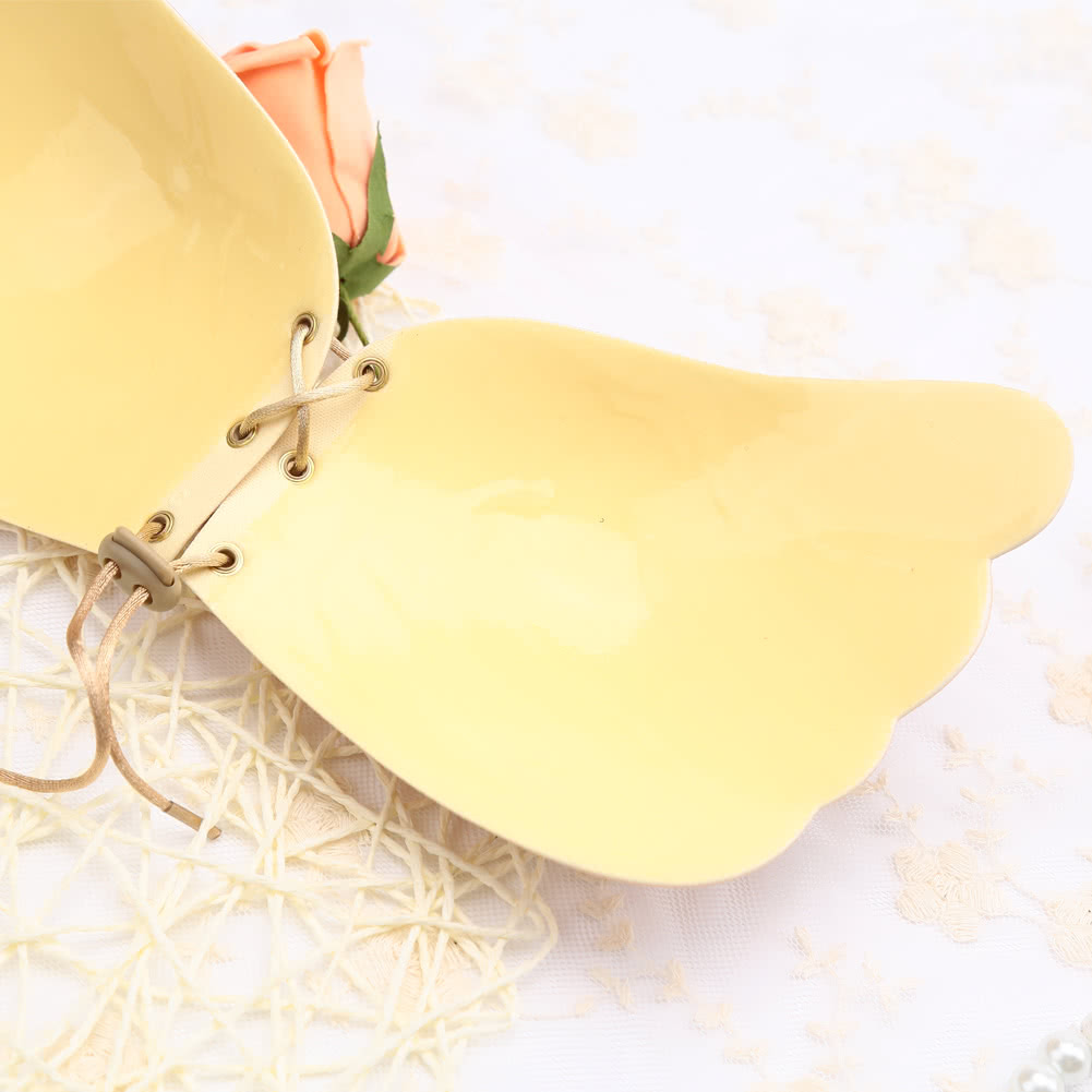 Cheap beige l sexy women silicone adhesive invisible wing for Best adhesive bra for wedding dress