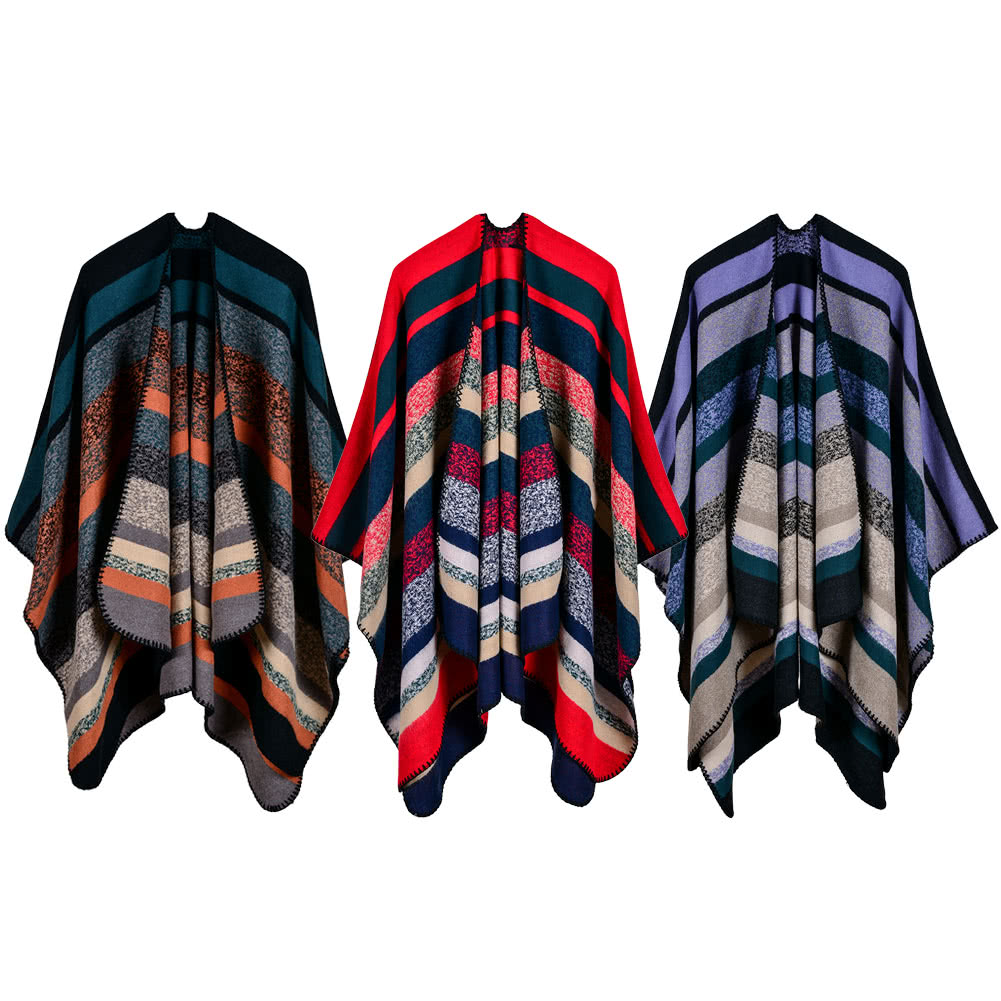 ae81008f9aaaa Women Poncho Scarf Cardigan Sweater Striped Warm Cape Shawl Long Scarves  Pashmina Outwear orange Online Shopping | Tomtop