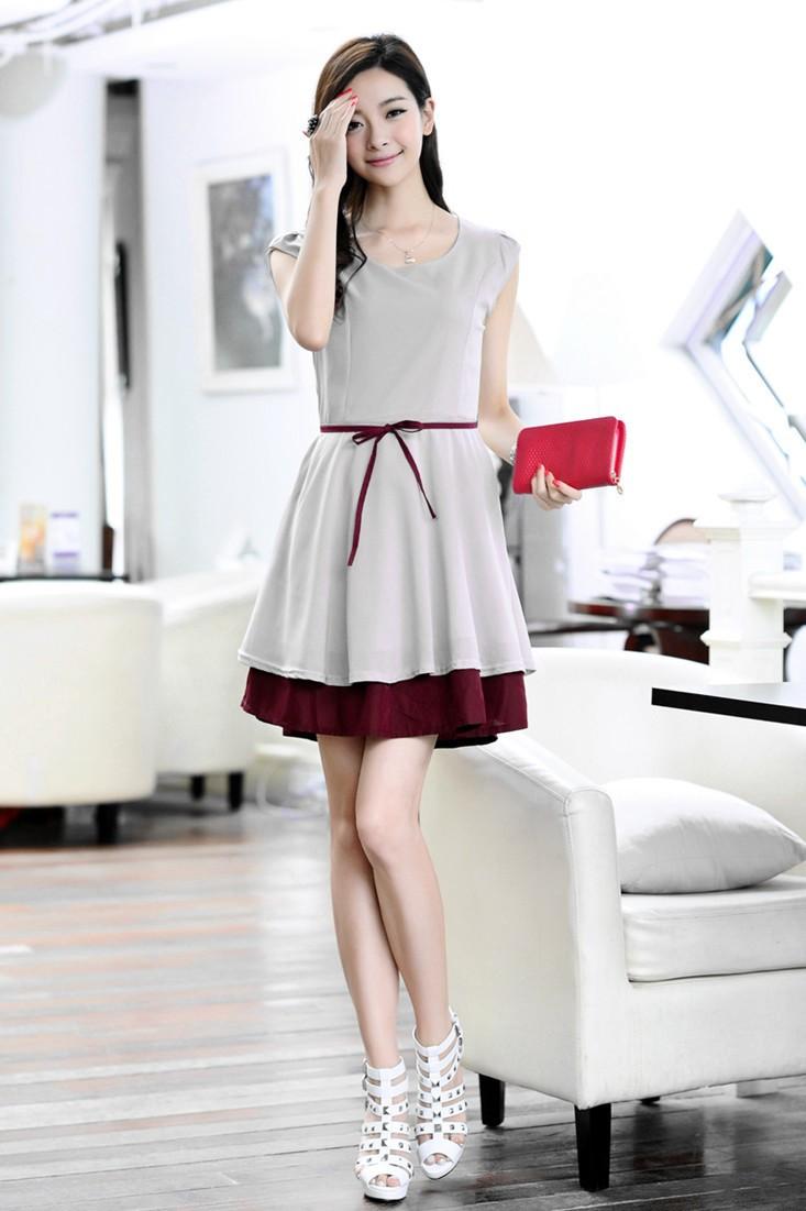 korean fashion sommer frauen chiffon kleid schlanke taille. Black Bedroom Furniture Sets. Home Design Ideas