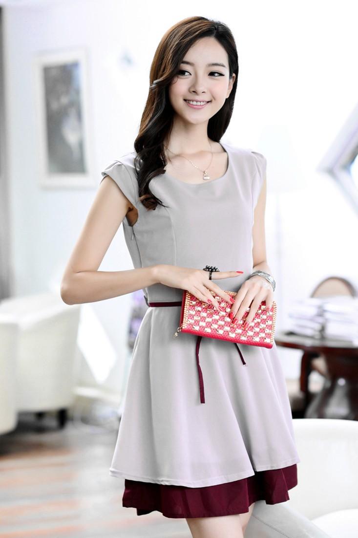 korean fashion sommer frauen chiffon kleid schlanke taille riemen ol minirock einteilige gray. Black Bedroom Furniture Sets. Home Design Ideas