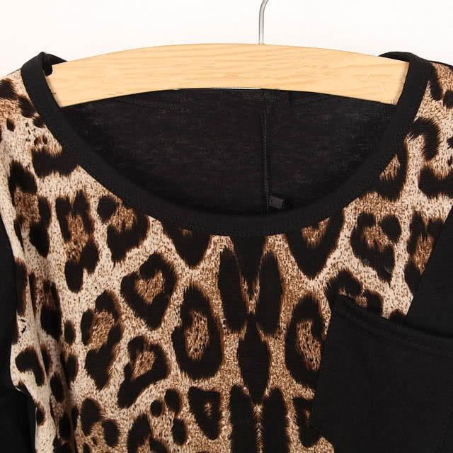 mode trendige damen t shirt langarm leopard print lose. Black Bedroom Furniture Sets. Home Design Ideas