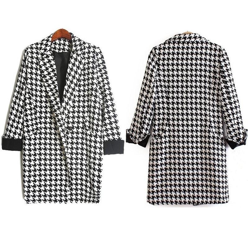 abrigo mujer abrigo larga manga Houndstooth solapa Moda cuadros gPwB5Rwq