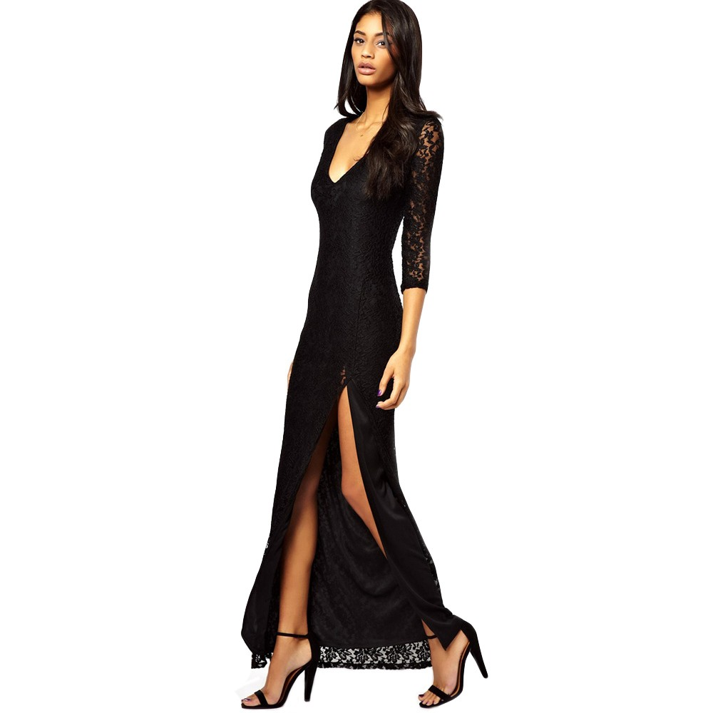 Women Sexy Lace Maxi Dress Deep V-Neck Split Three Quarter Sleeve ...