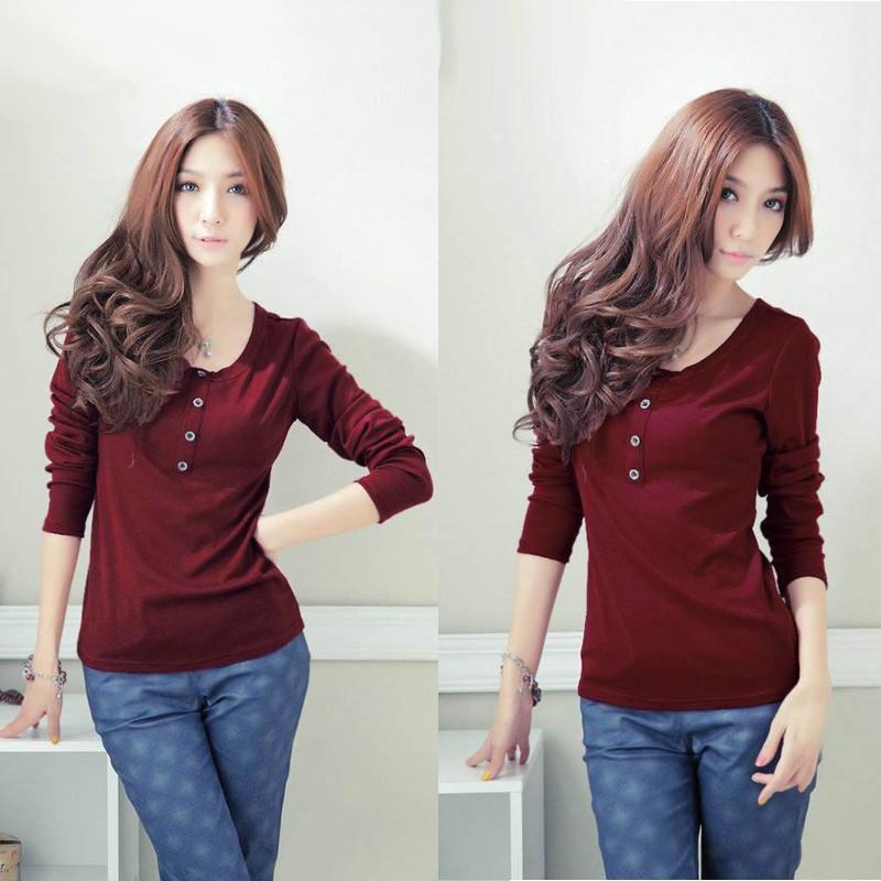 New fashion women t shirt o neck long sleeves button for Burgundy long sleeve t shirt womens