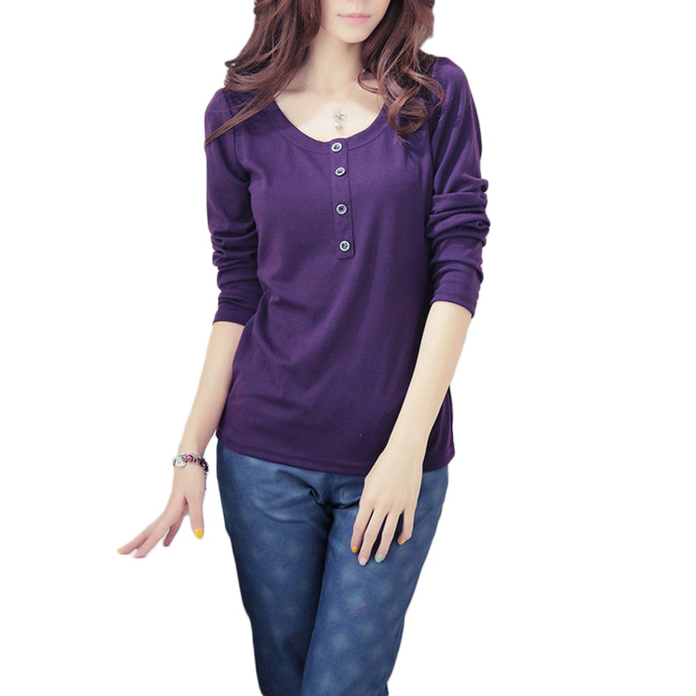 New Fashion Women T-Shirt O-Neck Long Sleeves Button ...
