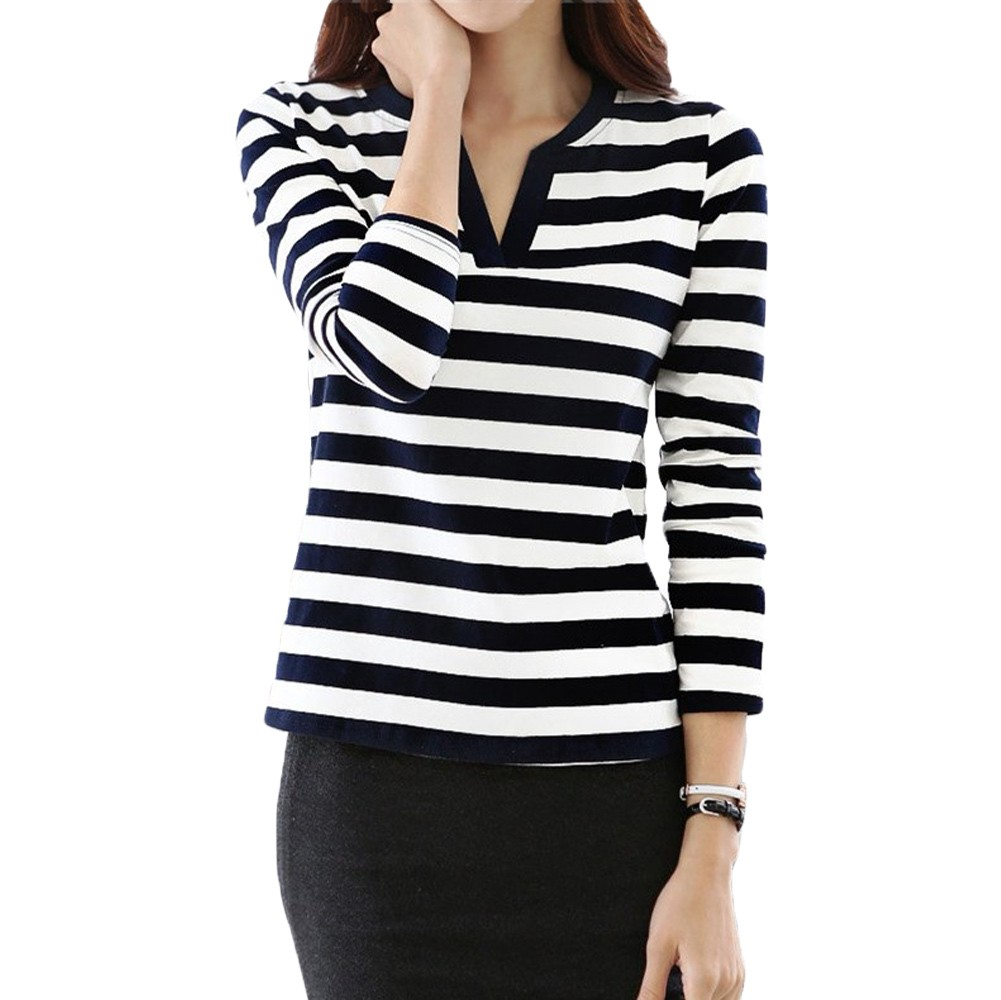 New fashion women casual t shirt stripe long sleeve v neck for Black and white striped long sleeve shirt women
