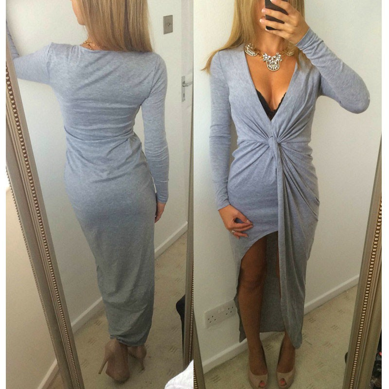 f5319f6d08 New Sexy Women Maxi Dress Deep V-Neck Front Knot Side Split Asymmetric  Jersey Dress l gray Online Shopping