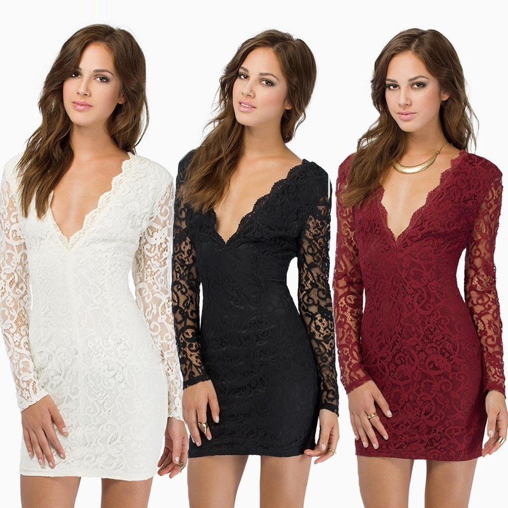 Sexy Women Lace Dress Plunge V Neck Zip Backless Long Sleeve Cocktail Party  Mini Dress Black Burgundy White e705c6c59