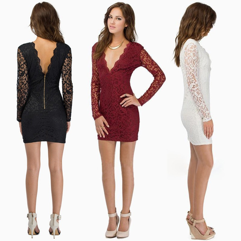 0b97f33bf0c Sexy Women Lace Dress Plunge V Neck Zip Backless Long Sleeve Cocktail Party  Mini Dress Black/Burgundy/White