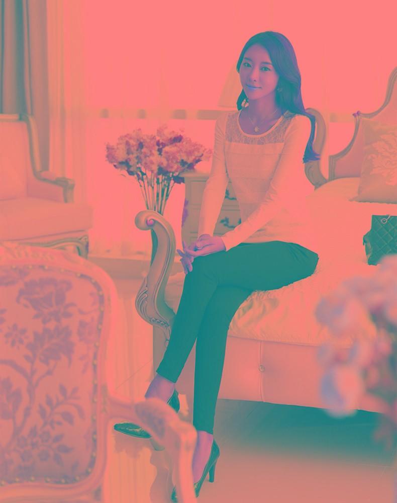 Moda mujer delgada camiseta encaje Floral redondo cuello manga larga ...