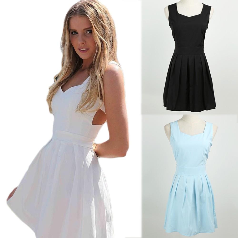 16a0e6bf7 Nueva mujer Sexy Mini vestido sin espalda corte V cuello sin mangas vestido  de noche coctel fiesta negro blanco azul