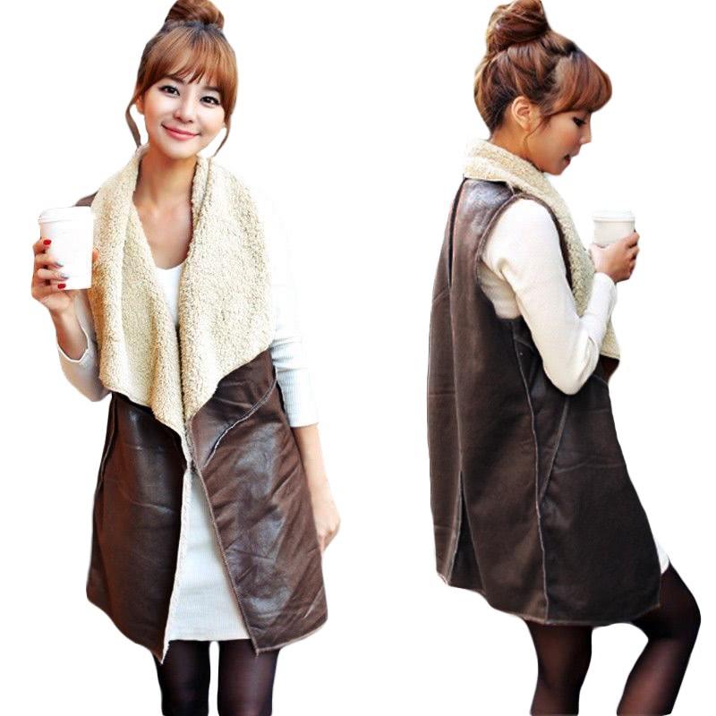 Nueva moda mujeres chaleco abrigo gamuza piel sintética solapa polar ...