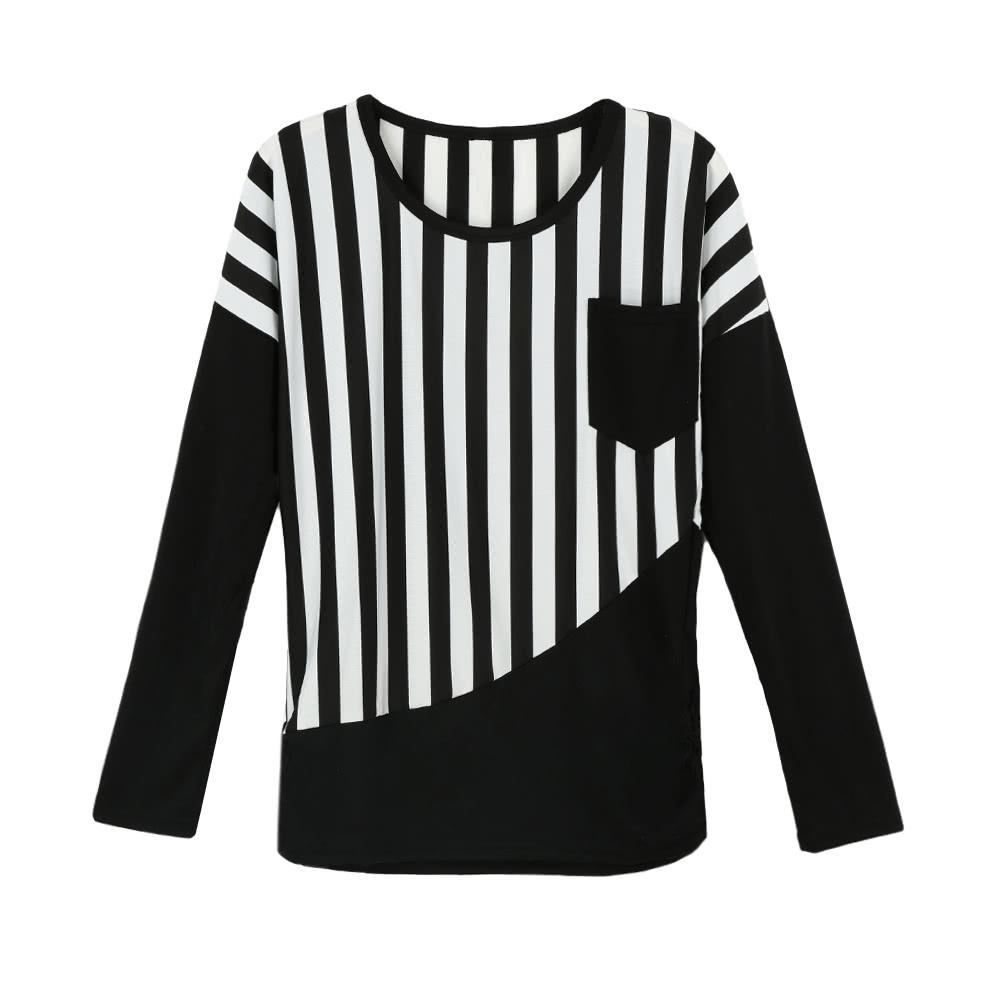 a98907759 Nova moda mulheres camiseta listrada Patchwork peito bolso manga longa  blusa Casual Tops Tee branco preto preto l - Tomtop.com