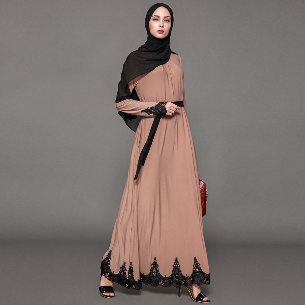 5c4247c4e28ac Second Hand Women Muslim Maxi Dress Contrast Lace Long Sleeve Abaya Kaftan  Islamic Arab Robe Belted Long Dress Burgundy/Brown